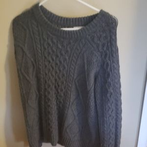 Gray Cable-Knit Sweater